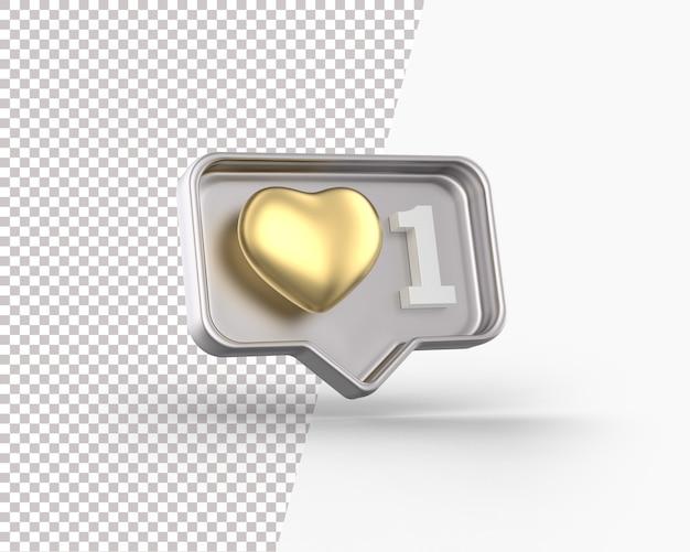 Coeur D'or 3d Sur Une Icône De Notification PSD Premium