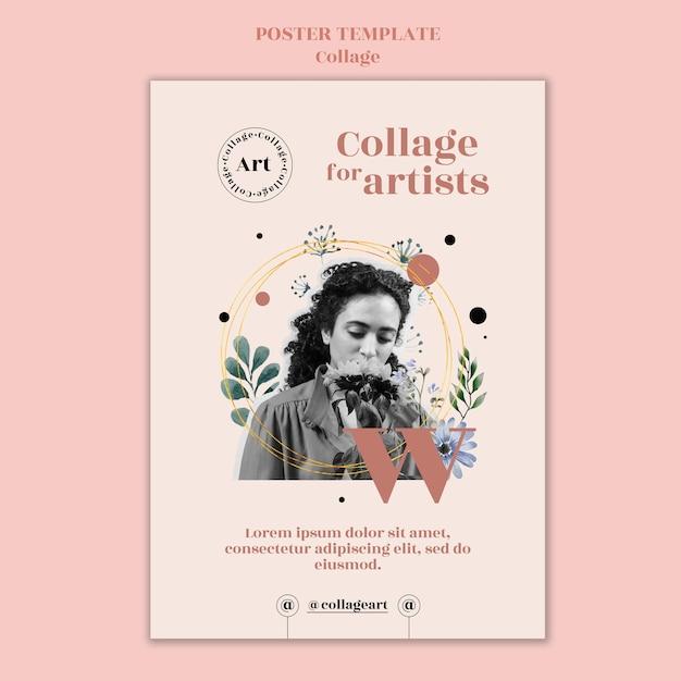 Collage Pour Modèle D'affiche D'artistes Psd gratuit