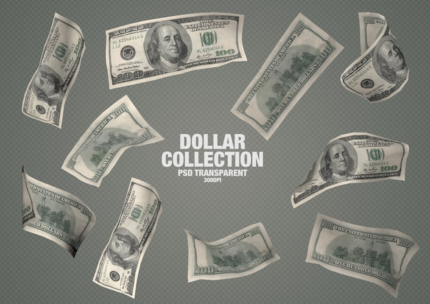 Collection 100 Dollars - 10 Billets Isolés PSD Premium