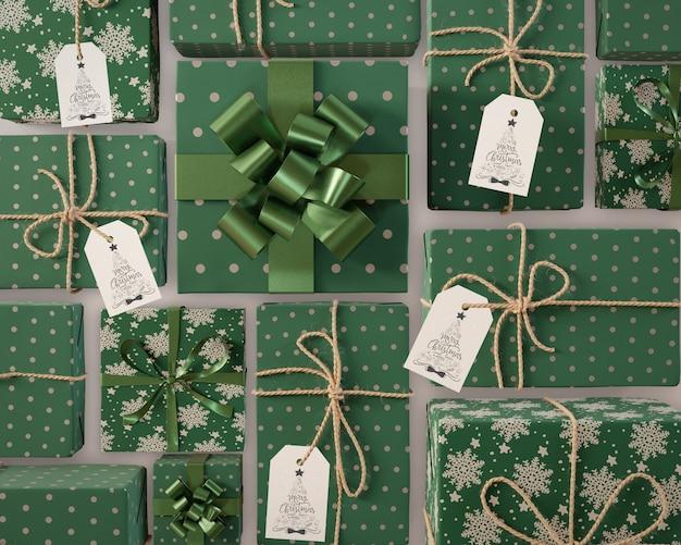 Collection De Cadeaux De Noël Avec étiquettes Psd gratuit