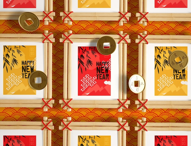 Collection De Cadres Du Nouvel An Chinois Psd gratuit