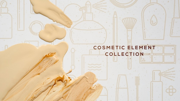 Collection d'éléments cosmétiques avec fondation Psd gratuit