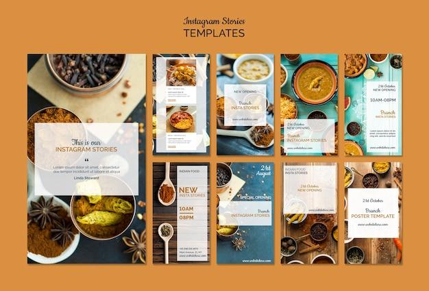 Collection d'histoires instagram de cuisine indienne Psd gratuit