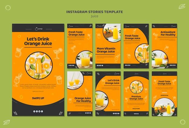 Collection D'histoires Instagram De Jus D'orange Psd gratuit