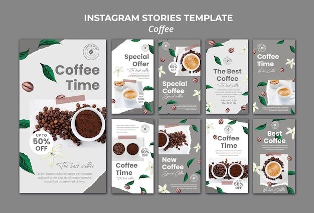 Collection D'histoires Instagram Pour Le Café PSD Premium