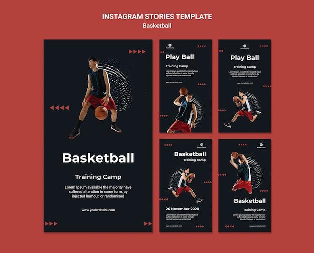 Collection D'histoires Instagram Pour Le Camp D'entraînement De Basket-ball PSD Premium