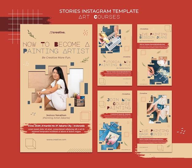 Collection D'histoires Instagram Pour Les Cours De Peinture PSD Premium