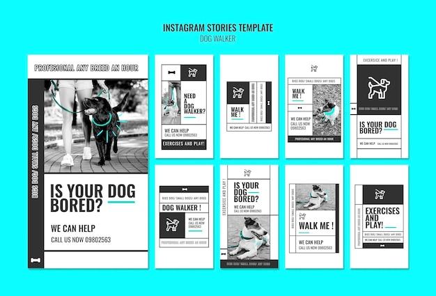 Collection D'histoires Instagram Pour Une Entreprise De Promenade De Chien Professionnelle Psd gratuit