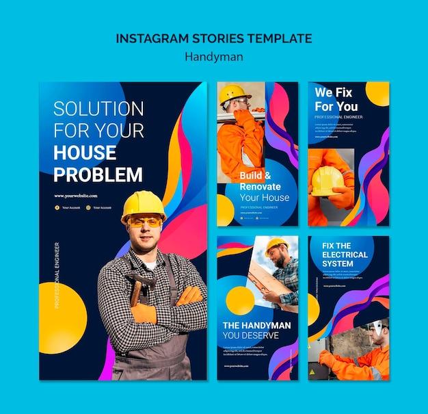 Collection D'histoires Instagram Pour Les Entreprises Offrant Des Services Aux Bricoleurs PSD Premium