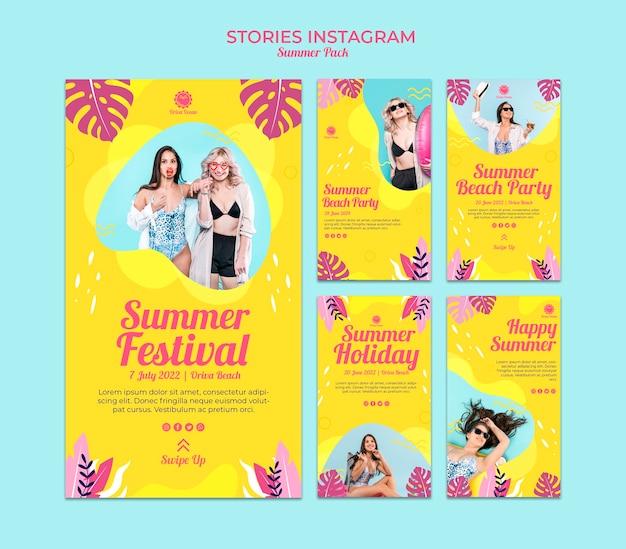 Collection D'histoires Instagram Pour Le Festival D'été Psd gratuit