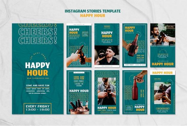 Collection D'histoires Instagram Pour L'happy Hour PSD Premium
