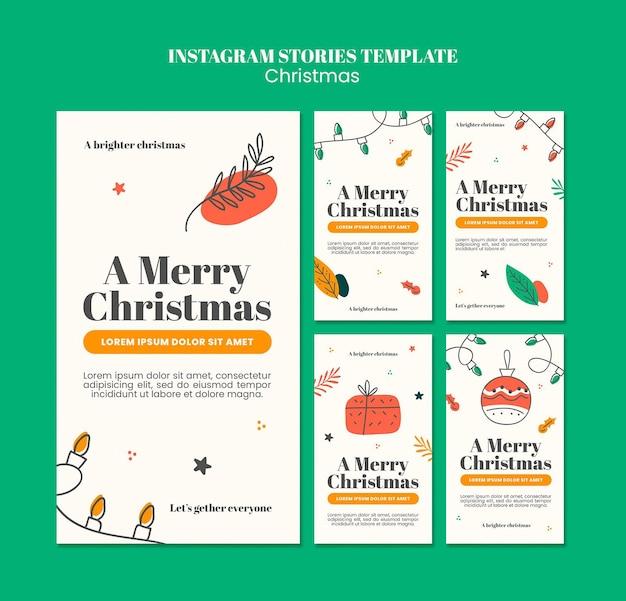 Collection D'histoires Instagram Pour Noël PSD Premium