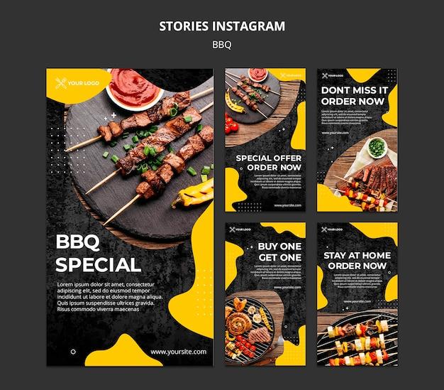 Collection D'histoires Instagram Pour Un Restaurant Barbecue Psd gratuit