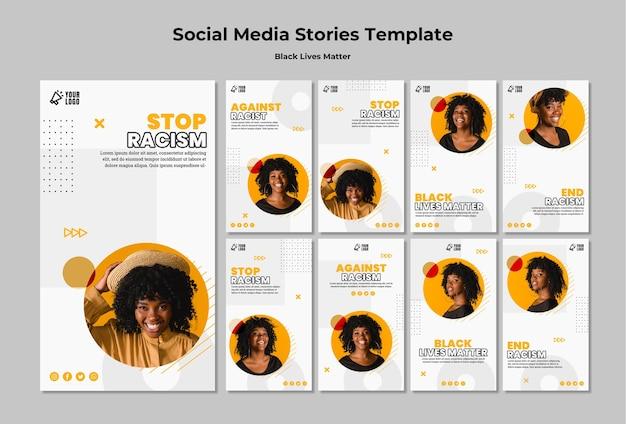 La Collection D'histoires Instagram Pour Les Vies Noires Compte Psd gratuit