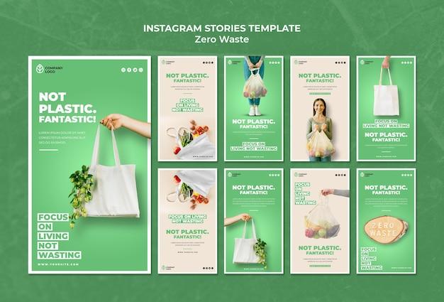 Collection D'histoires Instagram Pour Zéro Déchet Psd gratuit