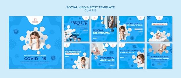 Collection De Messages Instagram Covid-19 PSD Premium