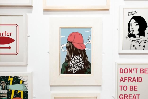 Collection d'œuvres d'art inspirantes sur un mur Psd gratuit