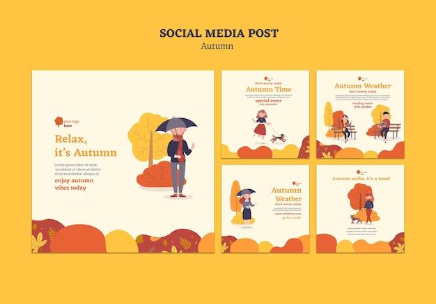 Collection De Publications Instagram Pour Les Activités D'automne En Plein Air Psd gratuit