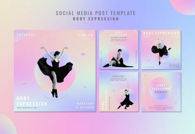 Collection De Publications Instagram Pour L'atelier D'expression Corporelle Psd gratuit