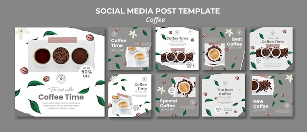 Collection De Publications Instagram Pour Le Café PSD Premium