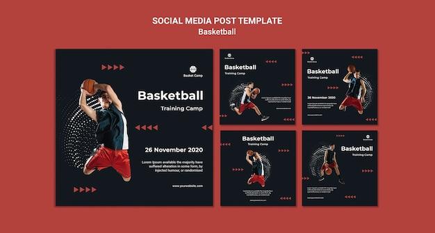 Collection De Publications Instagram Pour Le Camp D'entraînement De Basket-ball Psd gratuit