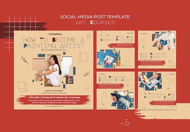 Collection De Publications Instagram Pour Les Cours De Peinture Psd gratuit