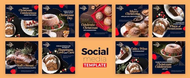 Collection De Publications Instagram Pour Les Desserts Traditionnels De Noël PSD Premium