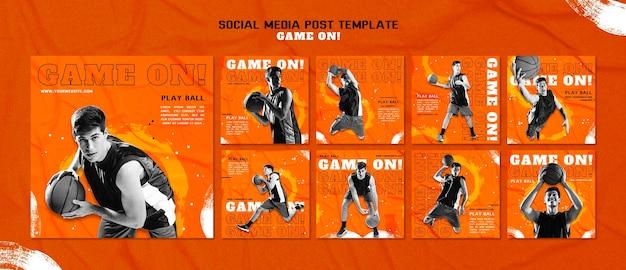 Collection De Publications Instagram Pour Jouer Au Basket PSD Premium