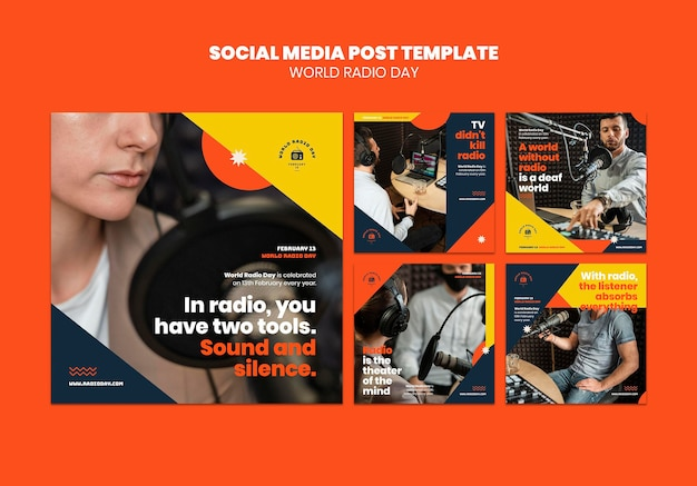 Collection De Publications Instagram Pour La Journée Mondiale De La Radio Avec Diffuseur Et Microphone Psd gratuit