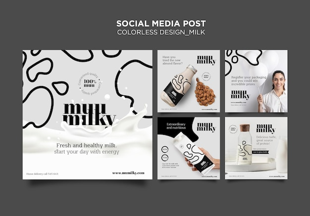 Collection De Publications Instagram Pour Le Lait Au Design Incolore Psd gratuit