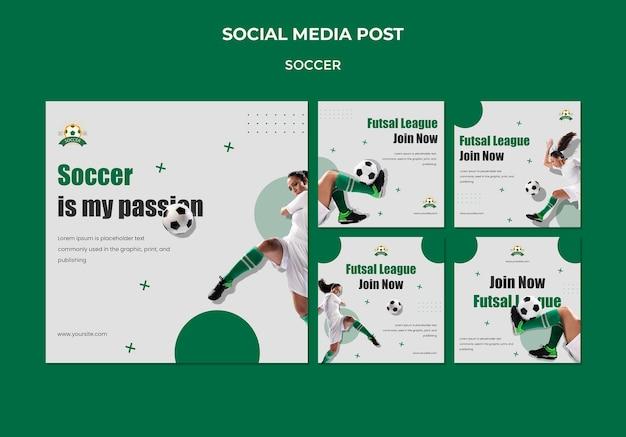 Collection De Publications Instagram Pour La Ligue De Football Féminin Psd gratuit