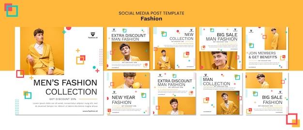 Collection De Publications Instagram Pour La Mode Avec Un Modèle Masculin PSD Premium