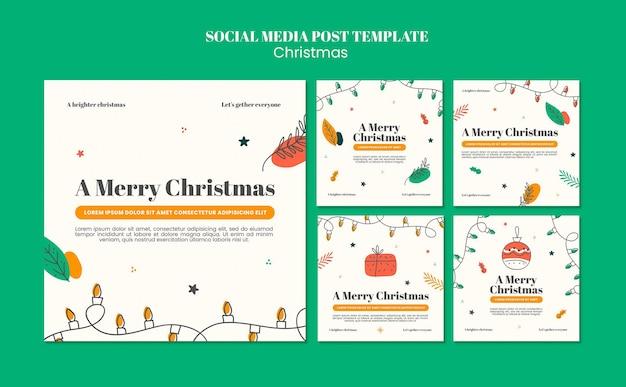 Collection De Publications Instagram Pour Noël PSD Premium