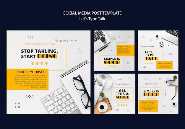 Collection De Publications Instagram Pour La Productivité Au Travail PSD Premium