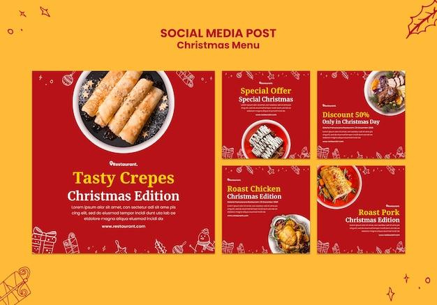 Collection De Publications Instagram Pour Un Restaurant De Cuisine De Noël Psd gratuit