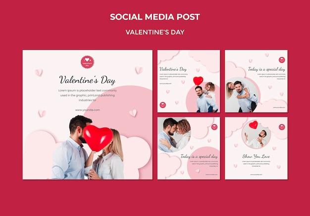 Collection De Publications Instagram Pour La Saint-valentin Avec Un Couple Amoureux Psd gratuit