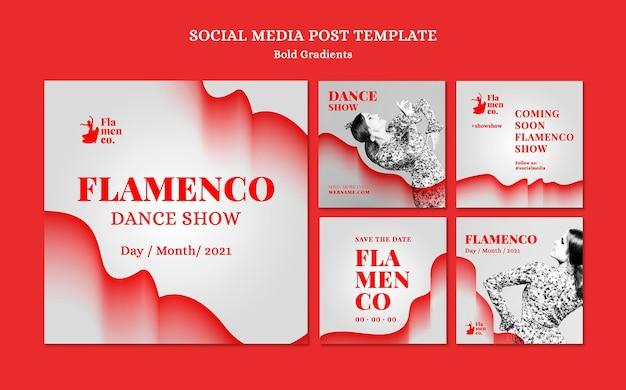 Collection De Publications Instagram Pour Un Spectacle De Flamenco Avec Une Danseuse Psd gratuit