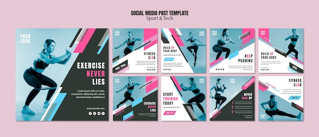 Collection De Publications Instagram Pour Le Sport Et Le Fitness Psd gratuit