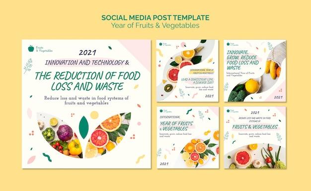 Collection De Publications Sur Les Réseaux Sociaux Année Des Fruits Et Légumes Psd gratuit