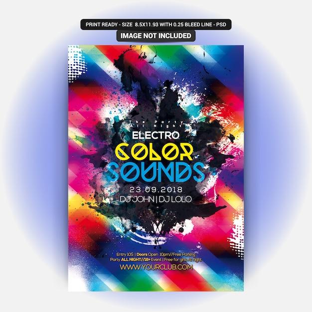 Color sounds party flyer PSD Premium