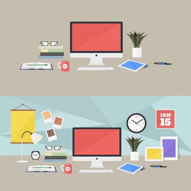 Coloré lieux de travail de conception Psd gratuit