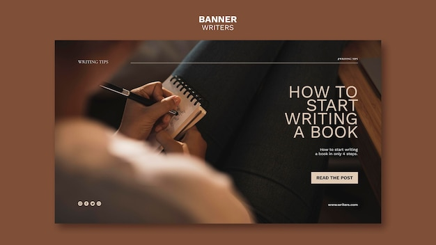 Comment Commencer à écrire Un Modèle De Bannière De Livre Psd gratuit