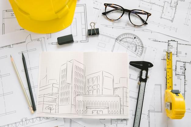 Composition d'architecture avec maquette de papier Psd gratuit