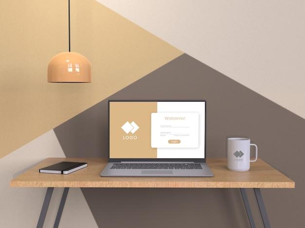 Composition De Maquette D'ordinateur Portable PSD Premium