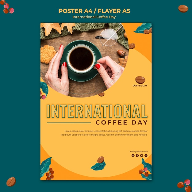 Concept D'affiche De La Journée Internationale Du Café Psd gratuit