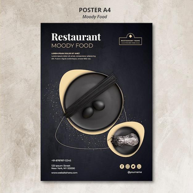 Concept D'affiche De Restaurant De Nourriture Moody Psd gratuit