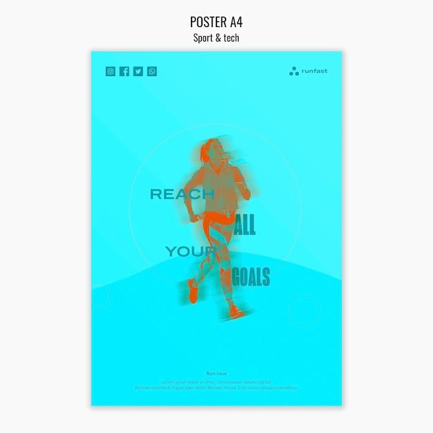 Concept D'affiche Sport & Tech Psd gratuit