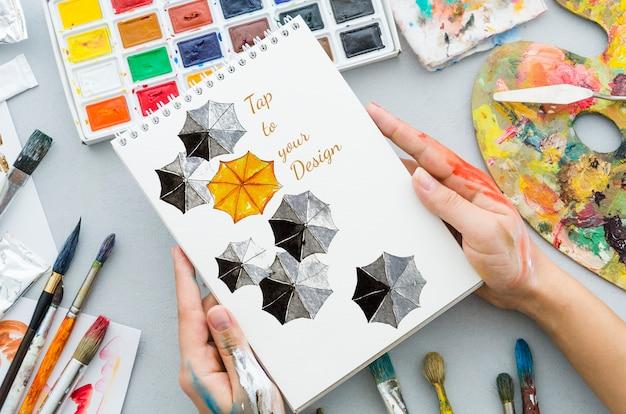 Concept Artistique Et Coloré Sur Ordinateur Portable Psd gratuit