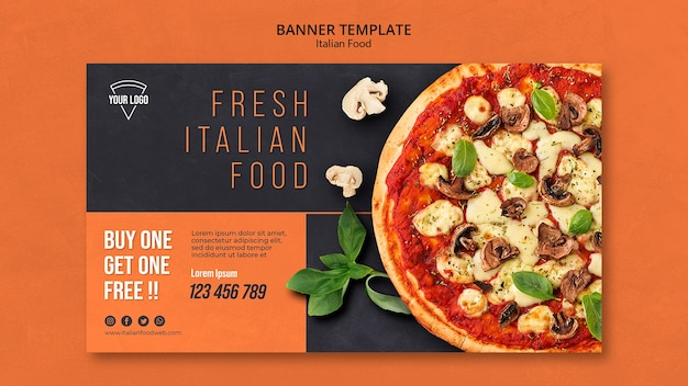 Concept De Bannière De Cuisine Italienne PSD Premium