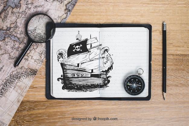 Concept De Bateau Pirate Psd gratuit